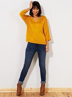 Denim - Slimfit jeans met superhoge taille - Lengte US32