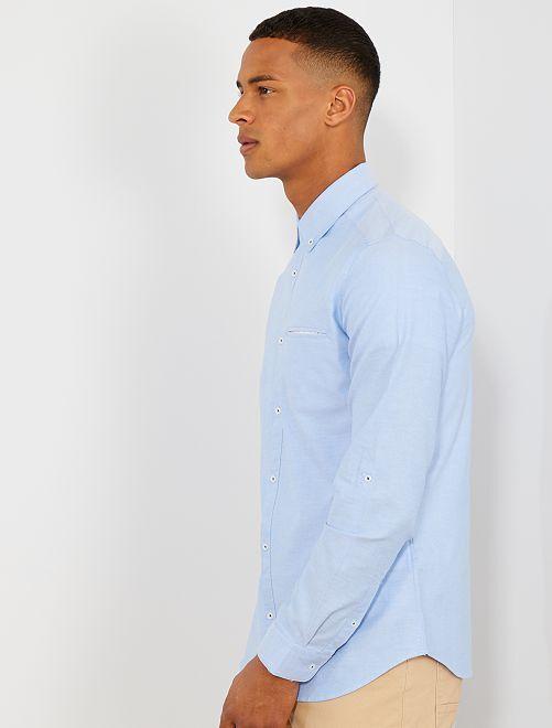 c2d7fb15a0c Slimfit overhemd van oxfordkatoen Herenkleding - blauwe stippen ...