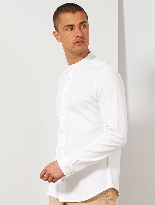 Slimfit overhemd van piqué                                                     wit Herenkleding