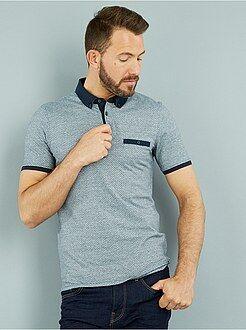 Poloshirt - Slimfit polo van bedrukt tricot