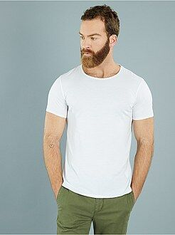 Heren t-shirts - Slimfit T-shirt met ronde hals van licht tricot