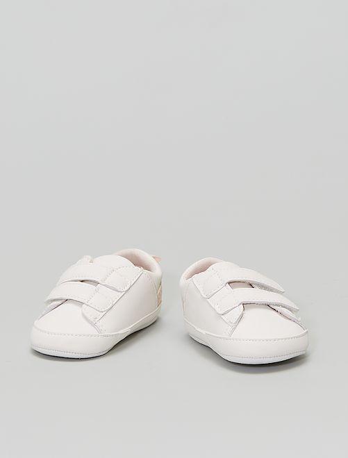 Sneakers met klittenband en bloemenprint                                         WIT