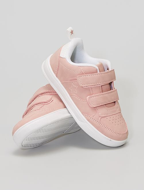 Sneakers met klittenbanden van imitatieleer                                         roze