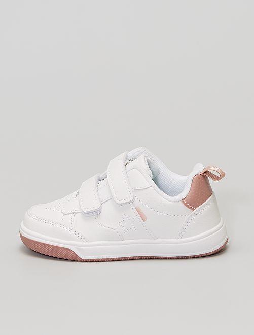 Sneakers met klittenbanden van imitatieleer                                         wit