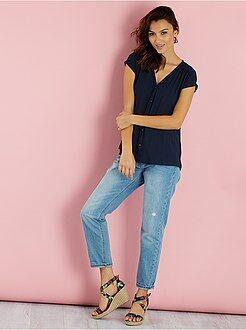 Top - Soepele blouse met korte mouwen
