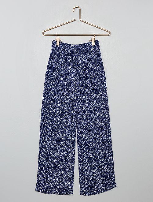 Soepele broek met print                                         BLAUW
