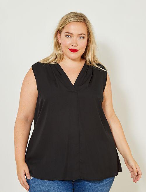 Soepele, mouwloze blouse                     zwart Dames size+