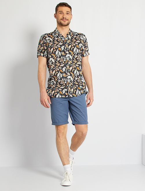 Soepelvallend hemd met print +1m90                                         BLAUW