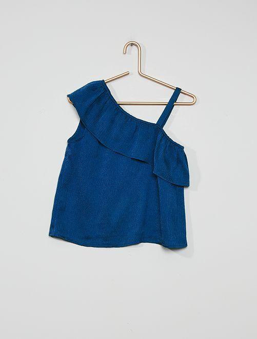 Soepelvallende bloesje met volant aan de schouder                                                                 kobalt blauw