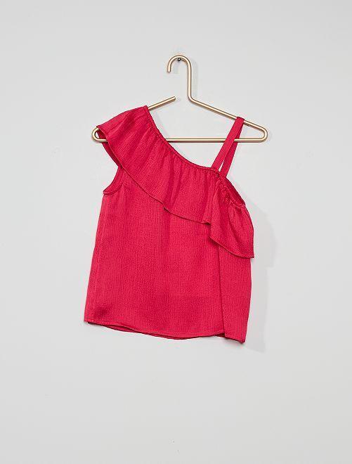 Soepelvallende bloesje met volant aan de schouder                                                                 roze