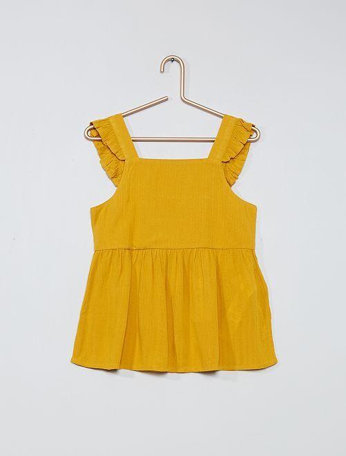 Soepelvallende blouse                                         brons geel