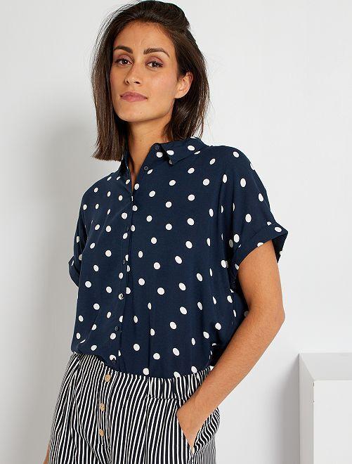 Soepelvallende blouse met print                                                                             BLAUW