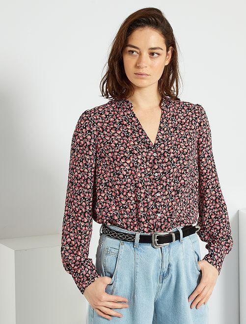 Soepelvallende overhemdbloes met bloemenprint                                         ROSE