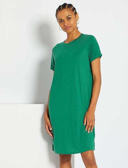 Soepelvallende T-shirtjurk                                                                 groen