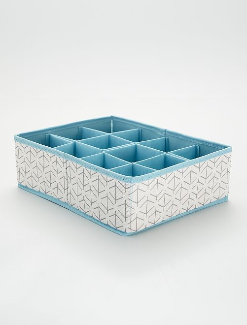 Stoffen opbergvak                                 wit / blauw