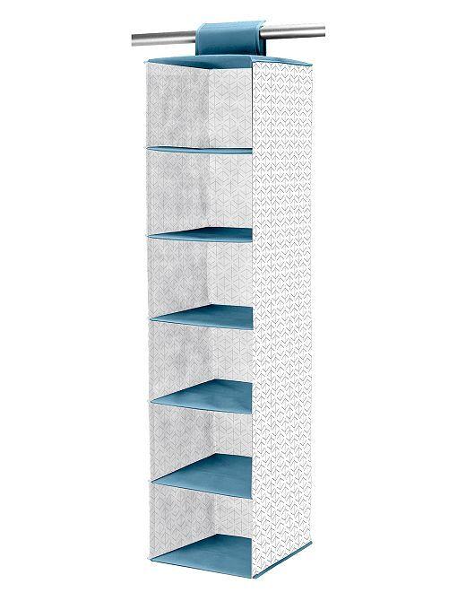 Stoffen opvouwbaar ophangrek                                                     wit / blauw