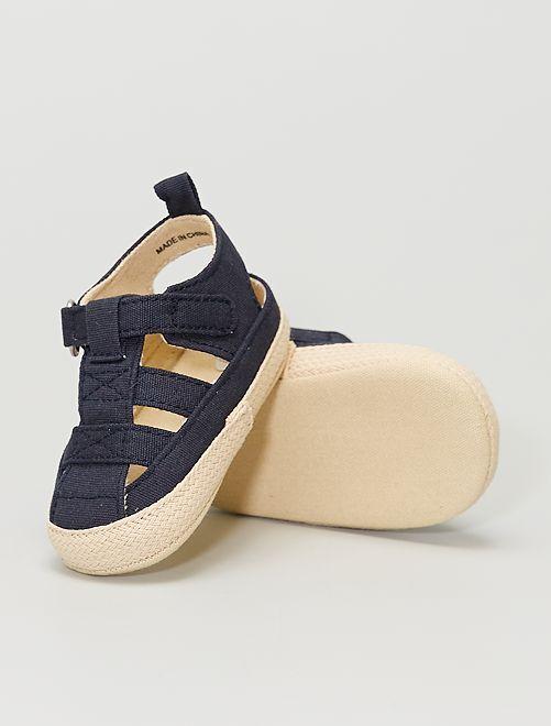 Stoffen sandalen met klittenband                                         BLAUW