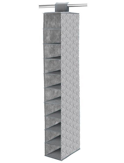 Stoffen schoenenopberger met 10 vakken                                                     wit / grijs