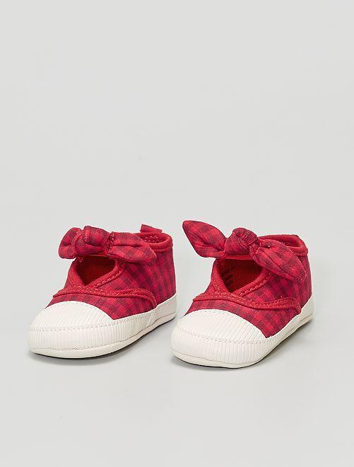 Stoffen sneakers met strik                             ROOD