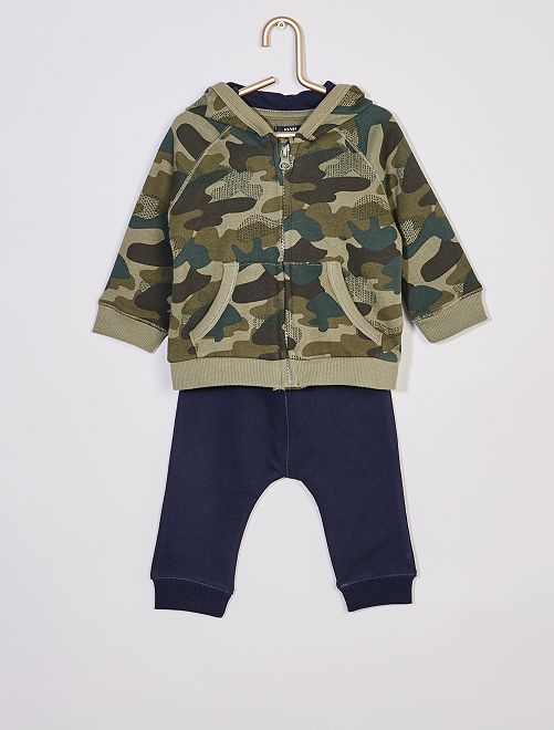 Sweater met capuchon en rits + broek 'Ecodesign'                             BLAUW