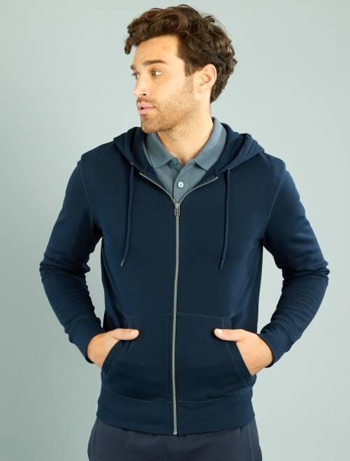 Sweater met een ritssluiting en capuchon                                             blauw Herenkleding