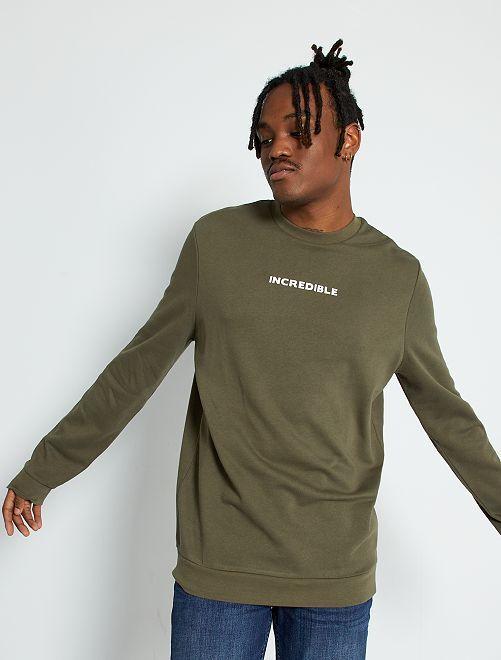 Sweater met opschrift 'Ecodesign' +1m90                                         KAKI
