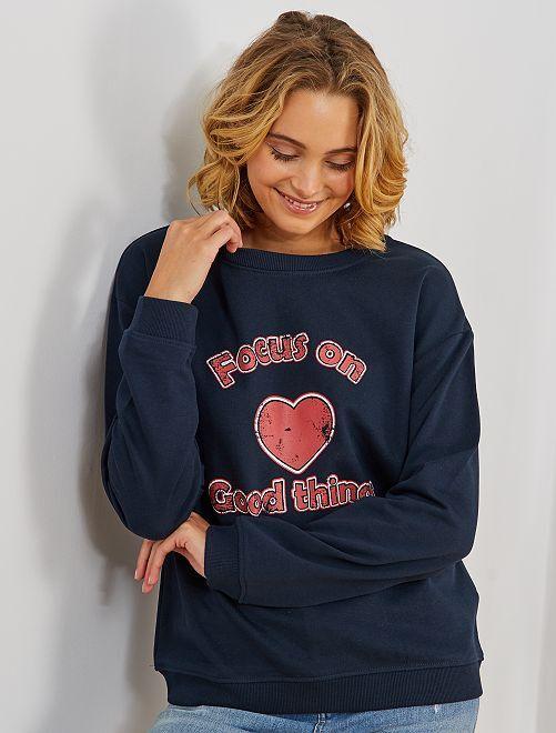 Sweater met opschrift 'ecodesign'                                                                                                     BLAUW