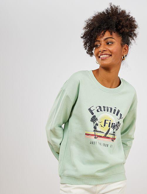 Sweater met opschrift 'ecodesign'                                                                                                     GROEN