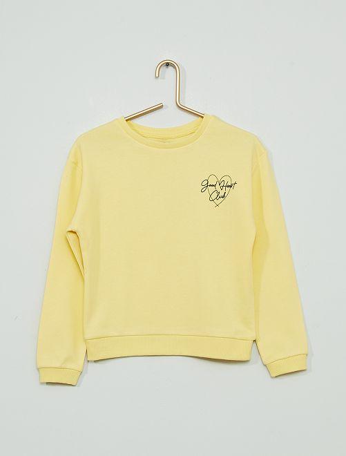 Sweater met print 'Ecodesign'                                                                             GEEL