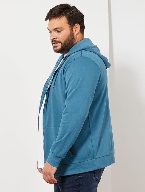 2e2b30262f5 Sweater met ritssluiting en capuchon Herenmode grote maten - BLAUW ...