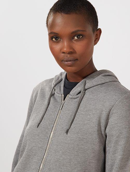 Sweater van joggingstof met ritssluiting en capuchon                                                                                                                 GRIJS Dameskleding