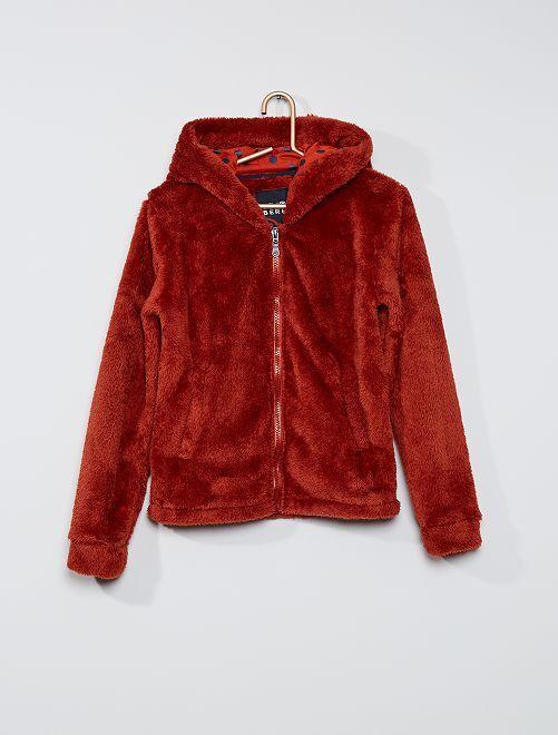 Sweater van pluchetricot met rits                             bruin