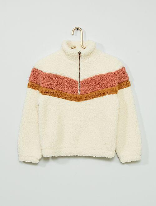 Sweater van sherpa                                         sneeuw wit