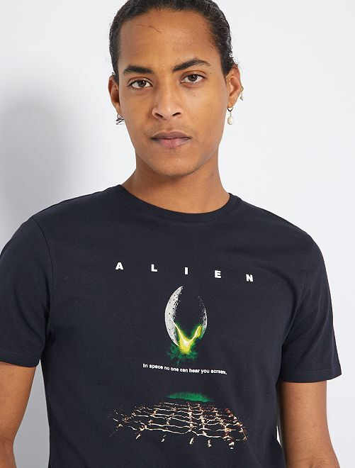 T-shirt 'Alien'                             zwart