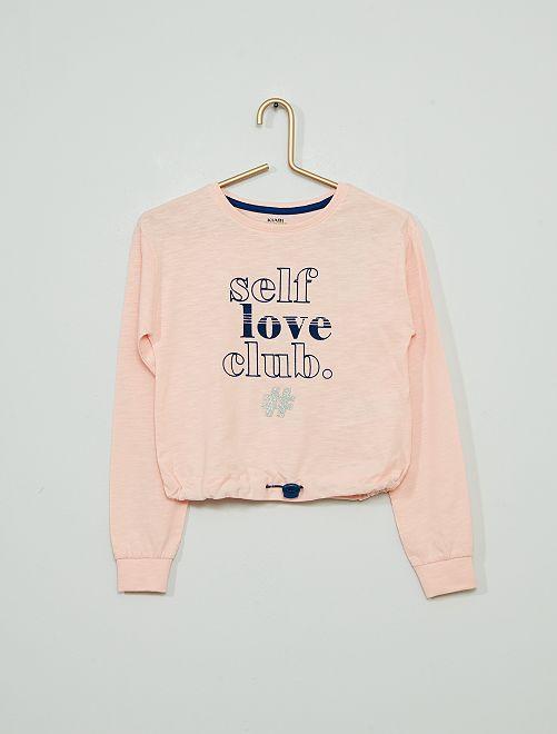 T-shirt met aantrekkoordje aan de taille                                         ROSE
