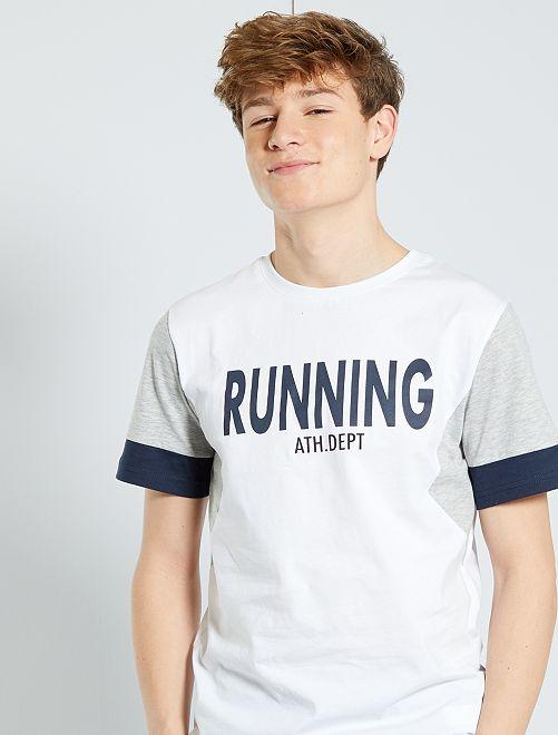 T-shirt met color block                                         WIT