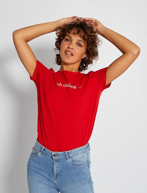 T-shirt met hartjesprint                                                                                                                                                                                                                 ROOD