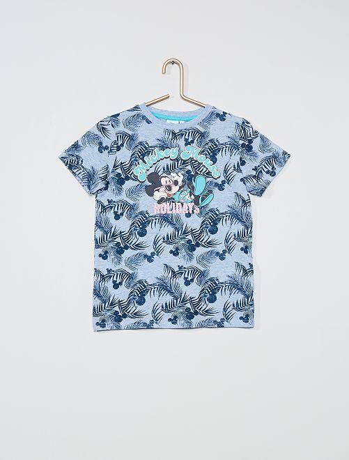T-shirt met 'Mickey'-print                                         BLAUW