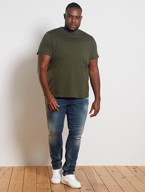 T-shirt met micro-motief 'ecodesign'                                         KAKI