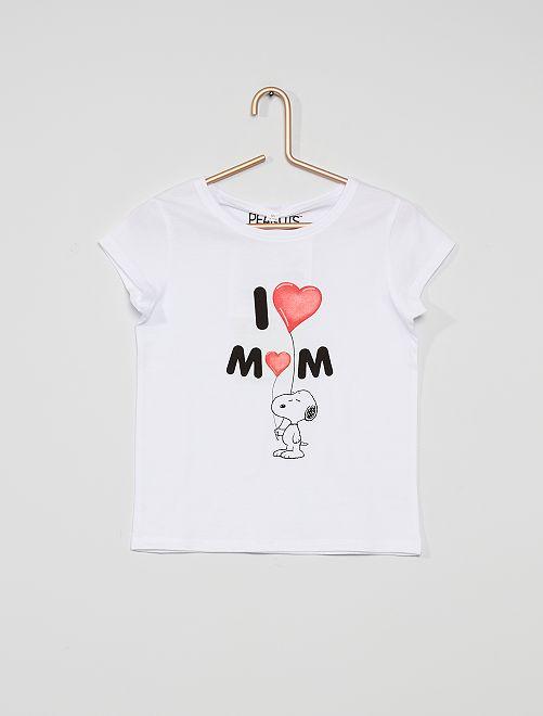 T-shirt met 'moederdag'-print                             wit