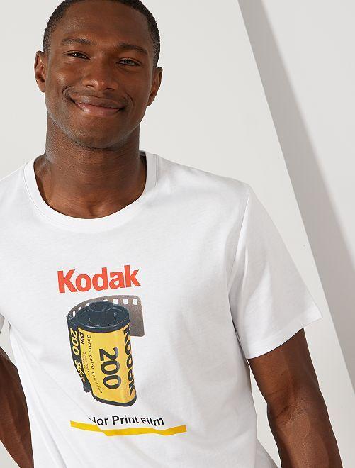 T-shirt met print van 'Kodak'                             wit Herenkleding
