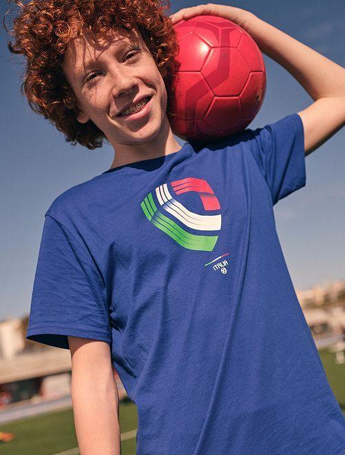 T-shirt met voetbalprint 'Italië' 'Ecodesign'                                                                 BLAUW