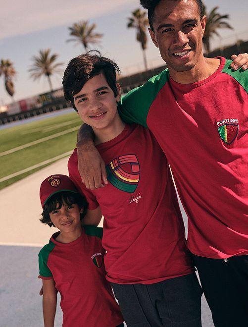 T-shirt met voetbalprint 'Portugal' 'Ecodesign'                                                                 ROOD