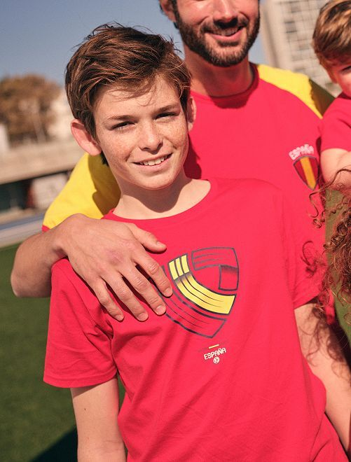 T-shirt met voetbalprint 'Spanje' 'Ecodesign'                                                                 ROOD