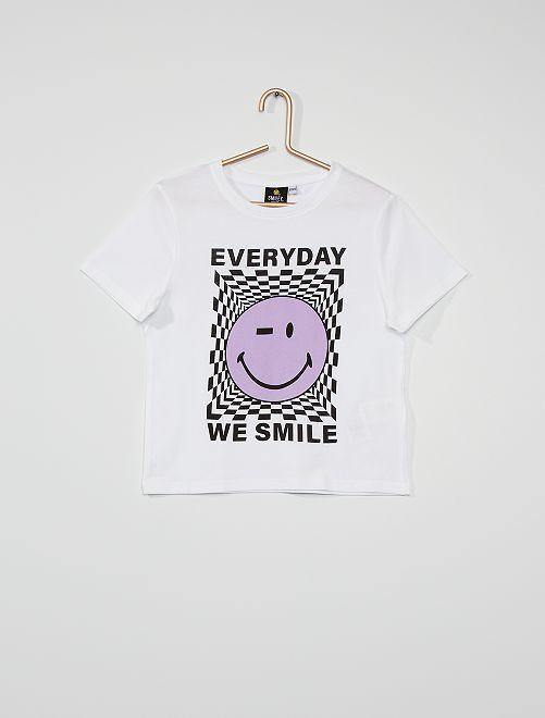 T-shirt 'Smiley World' 'Ecodesign'                             wit