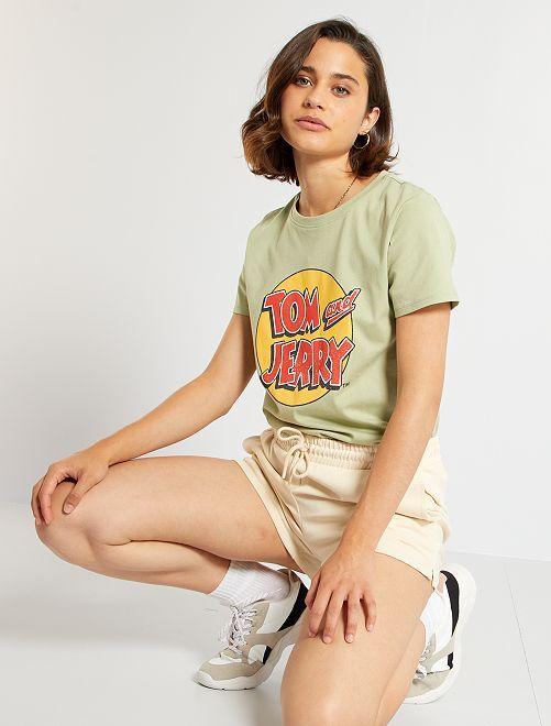 T-shirt 'Tom & Jerry' 'Ecodesign'                             GROEN