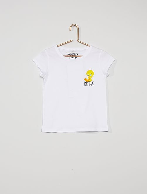 T-shirt 'Tweety' van de 'Looney Tunes'                             wit