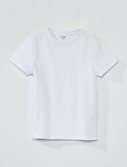 T-shirt van 100% katoen bio                                                                                 wit