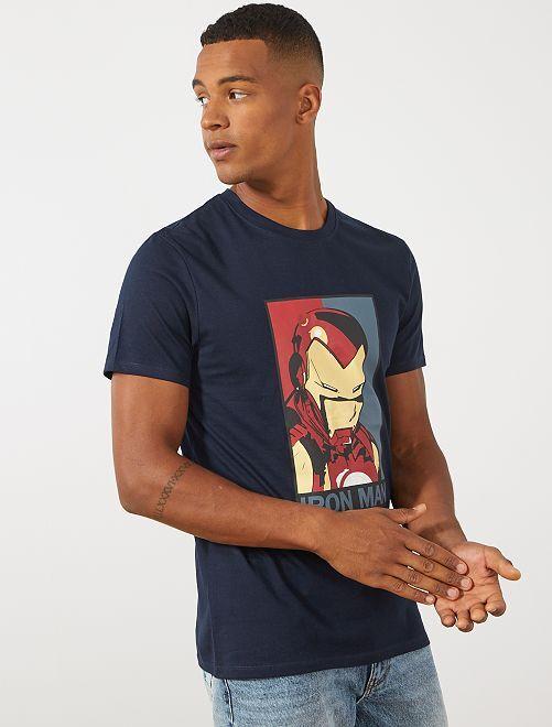 T-shirt van 'Iron Man'                                         BLAUW Herenkleding