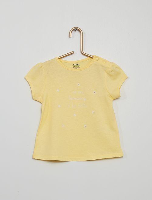T-shirt van jerseystof                                                                                         GEEL